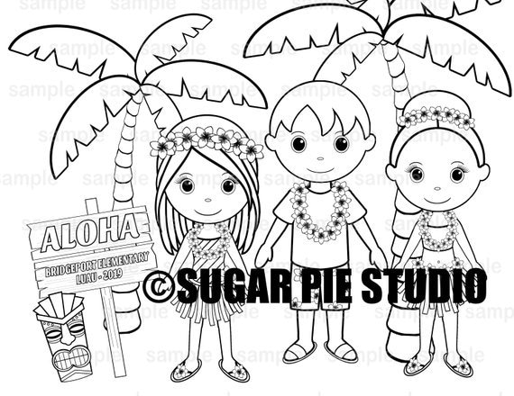 School dance luau coloring page activity Personalized Printable  PDF or JPEG file