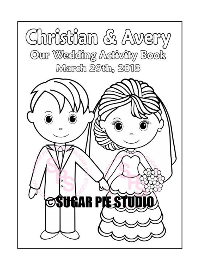 Printable Personalized Wedding coloring activity book  Favor image 0