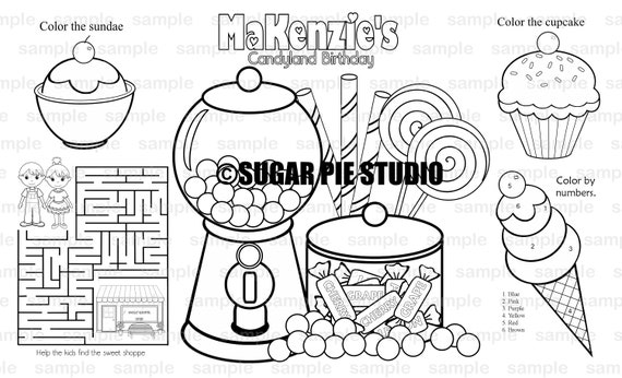 PRINTABLE Personalized Sweet Shoppe Candy shop Candy land Favor Placemat Childrens coloring page activity PDF or JPEG file
