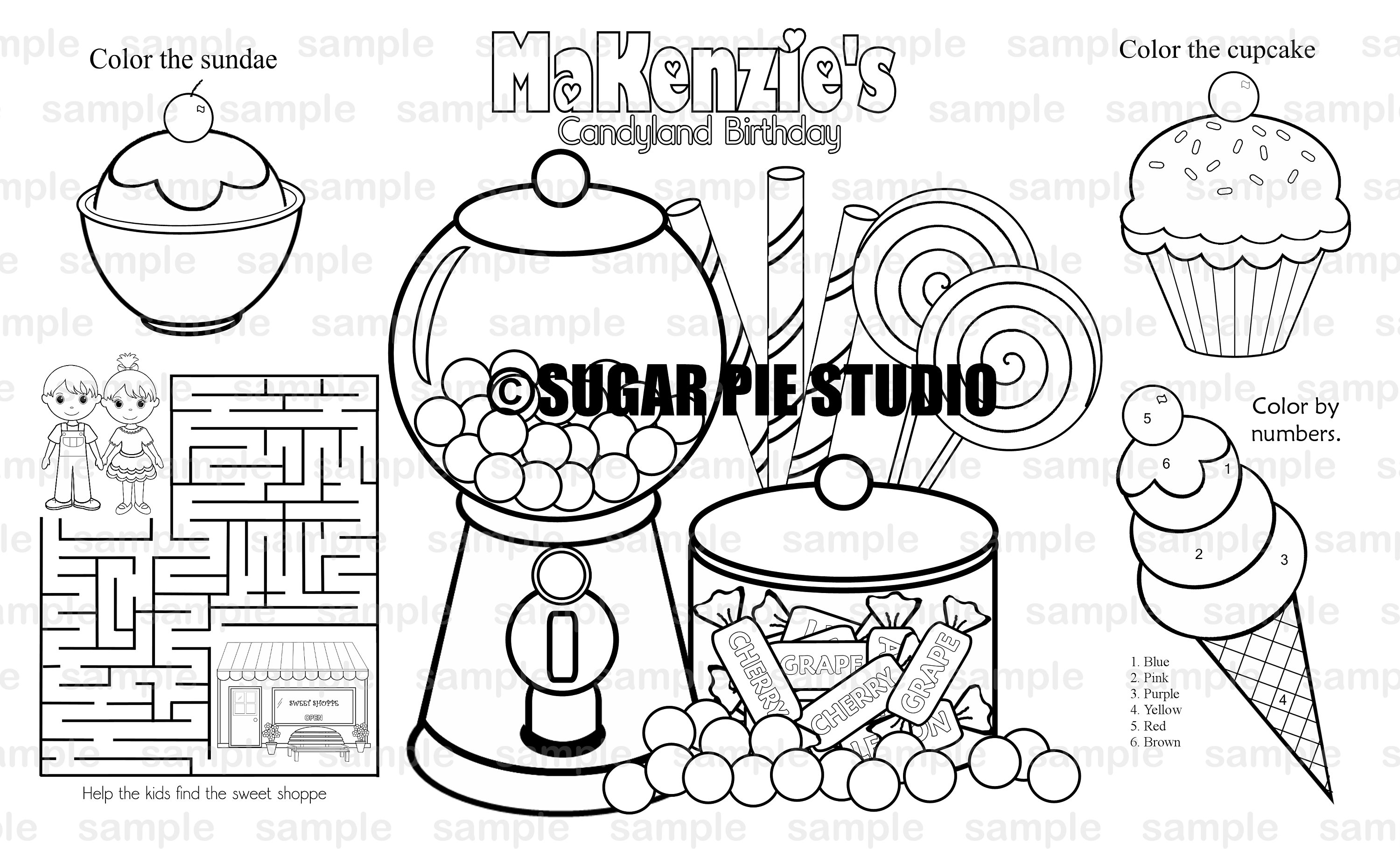 Printable Personalized Sweet Shoppe Candy Shop Candy Land Favor