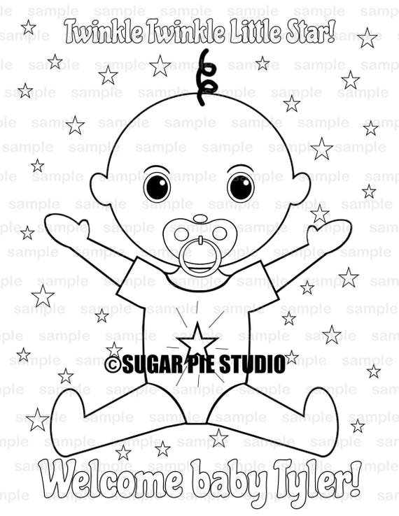 Twinkle Twinkle little star Baby shower Party Favor childrens kids coloring page activity PDF or JPEG file