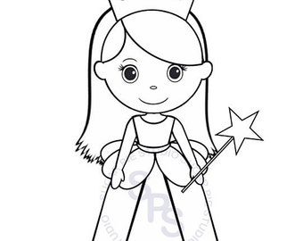 Personalized Printable Princess Birthday Party Favor Childrens Kids Coloring Page Book Activity PDF Or JPEG File