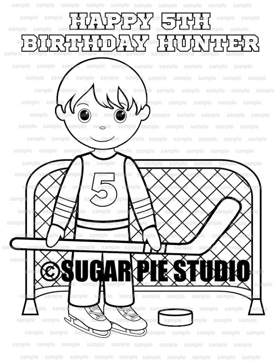 Hockey coloring page Party Favor childrens kids coloring activity PDF printable