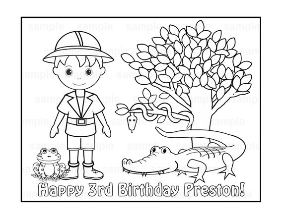 Personalized Printable Safari Jungle Girl Boy Birthday Party Favor childrens kids coloring page book activity PDF or JPEG file