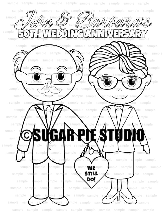 Wedding Anniversary coloring page Party Favor childrens kids activity PDF or JPEG file