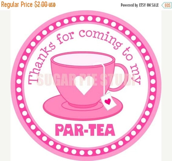 Tea party tea time 3 inch Printable Favor tags Digital File Instant download