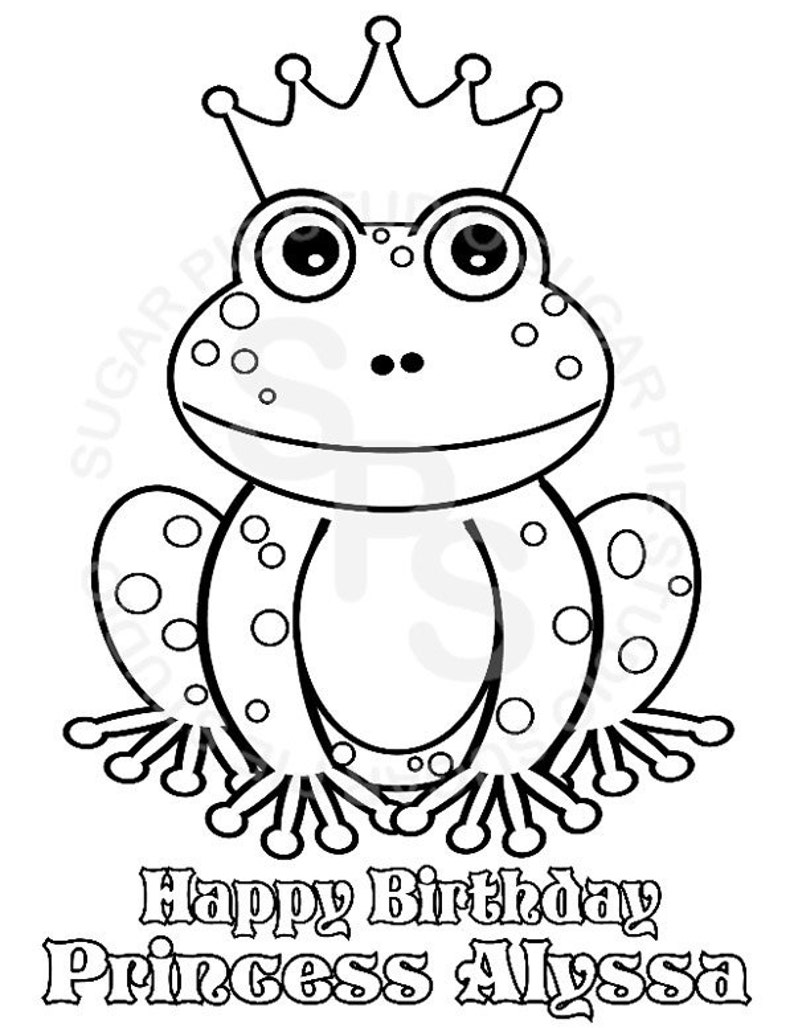 Personalized Printable Princess frog Birthday Party Favor image 0