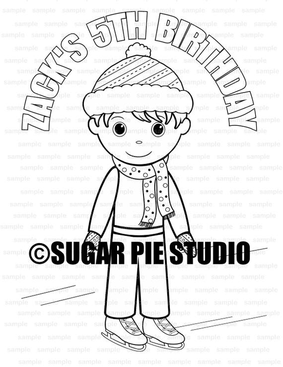 Winter wonderland Ice Skating coloring page activity Birthday Party Favor childrens kids Printable PDF or JPEG file