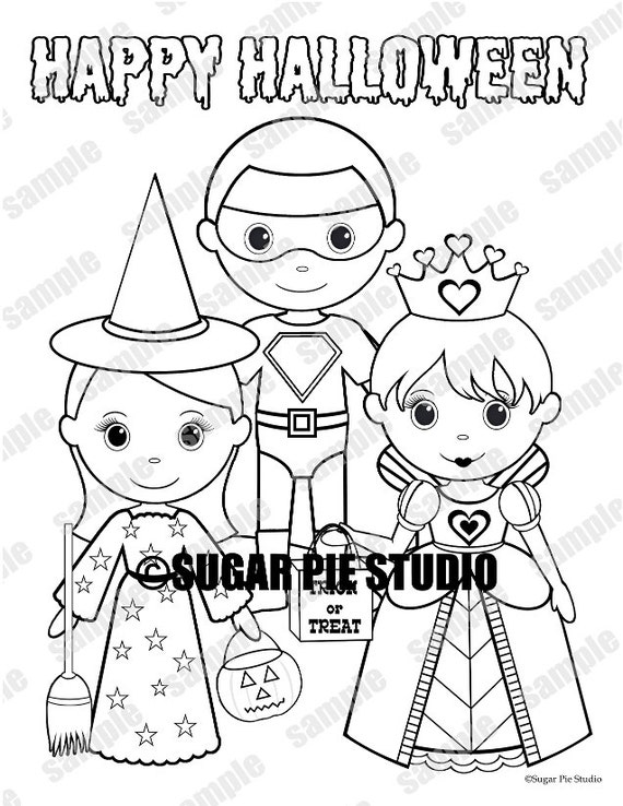 Halloween Coloring page kids Birthday Party Favor childrens kids coloring page activity Pdf or Jpeg INSTANT DOWNLOAD
