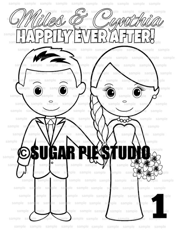 Wedding  coloring page childrens kids activity favor PDF or Jpeg file