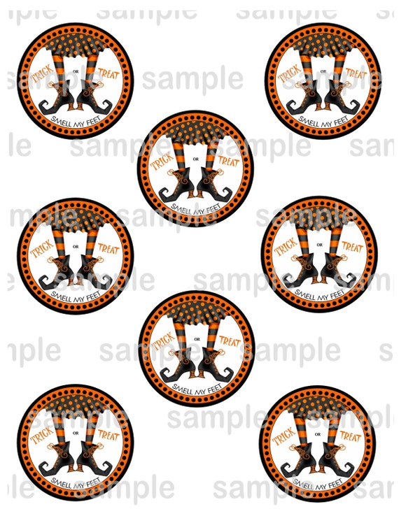 Halloween Favor tags / cupcake toppers 2.5 inch circle Printable Digital File