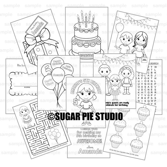 Birthday coloring book Party Favor Kids coloring activity book PDF or JPEG TEMPLATE