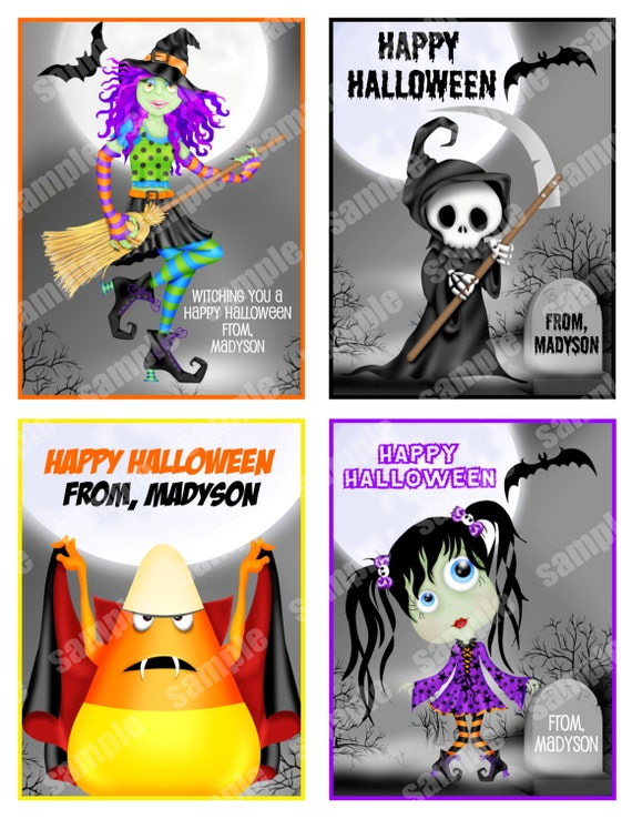 Printable Halloween Cards, small tags classroom friends Personalized Digital File, DIY Printable