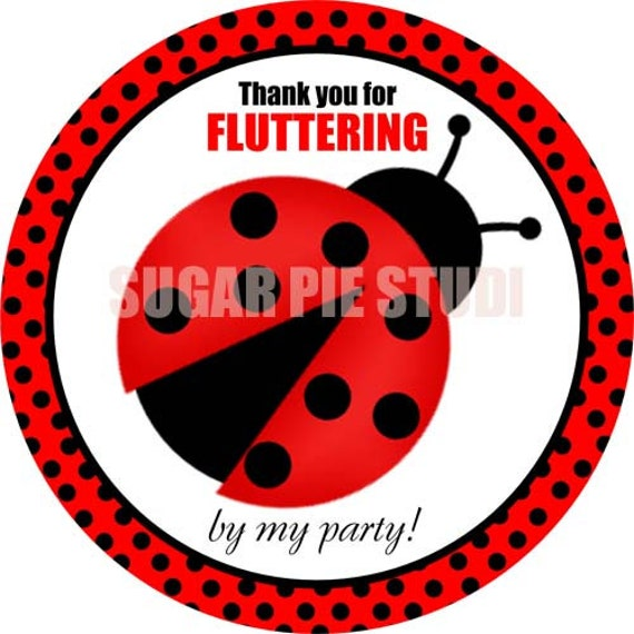 Instant download 2.5 inch Lady bug ladybug spring birthday party Printable Favor tags / cupcake toppers Digital File
