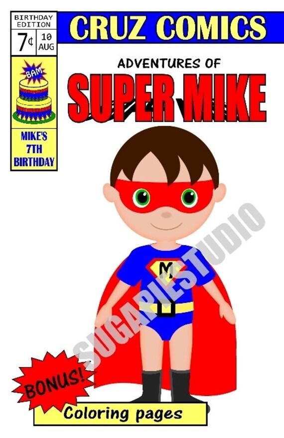 Superhero coloring activity book PDF or JPEG TEMPLATE Printable Personalized Custom 8.5x 5.5 Favor Kids