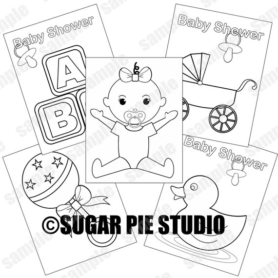 Baby shower coloring pages baby girl party favor kids table JPEG and PDF available instant download