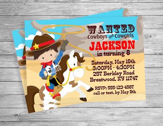 Cowgirl Cowboy western Birthday party invitation, Custom Personalized -Digital File, DIY Printable File