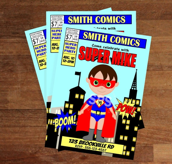 Printable 5x7 Comic Book Birthday Invitation Custom Personalized Digital File, DIY