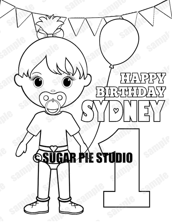 First Birthday coloring page Party Favor childrens kids coloring page activity PDF or JPEG file