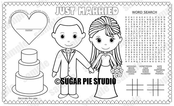 instant download printable bride groom coloring page place mat etsy