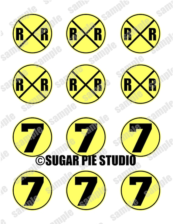 Instant download RAILROAD AGE 7 SEVEN Train  2 inch Printable Favor tags / cupcake toppers Digital File