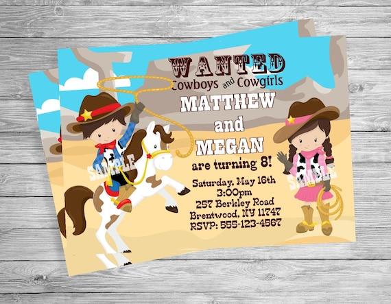 COWBOY COWGIRL TWINS Boy girl Birthday Invitation, Custom Personalized Invitation -Digital File, Diy Printable File