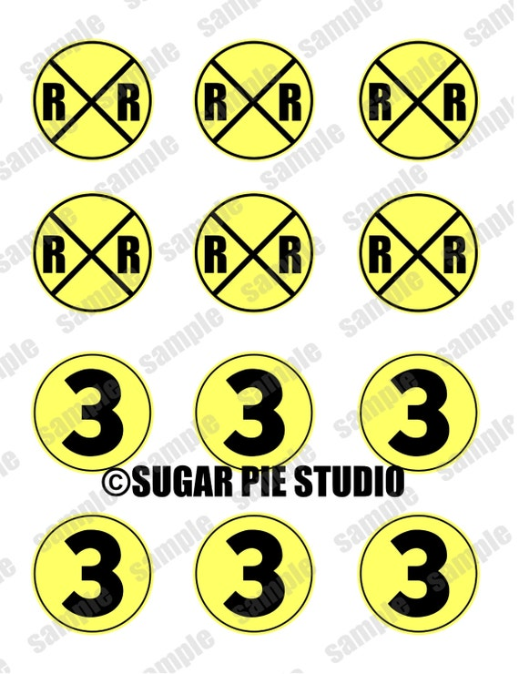 Instant download RAILROAD AGE 3 Train  2 inch Printable Favor tags / cupcake toppers Digital File