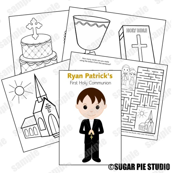 Communion coloring activity book PDF or JPEG TEMPLATE Printable Personalized Custom Favor Kids