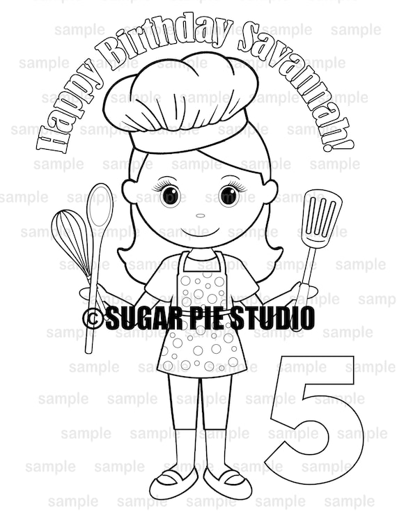 Chef Baker coloring page birthday party favor activity PDF or JPEG file