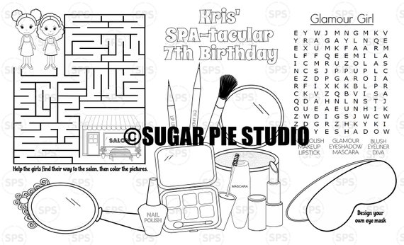 SPA coloring page Place-mat Childrens birthday activity PDF or JPEG file Legal size
