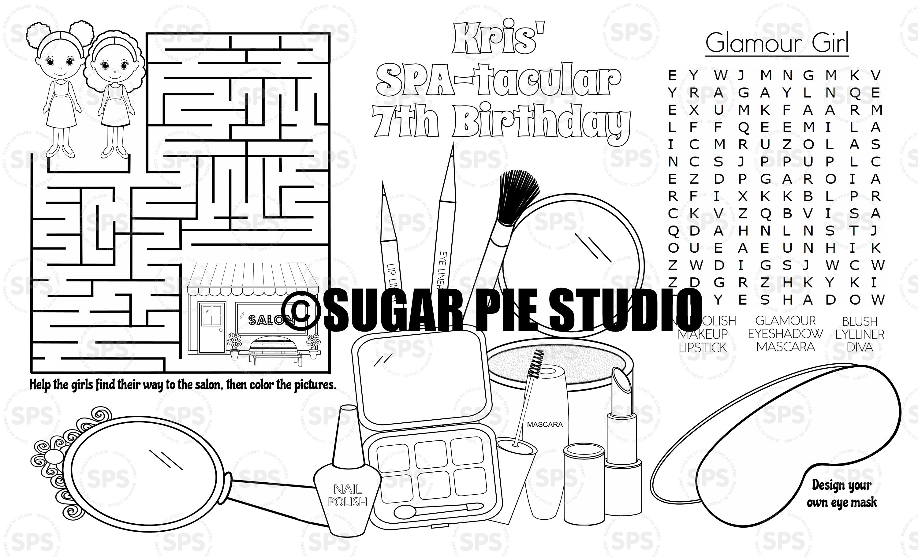 Spa Coloring Page Place Mat Childrens Birthday Activity Pdf