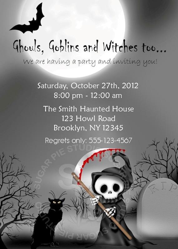 Printable Halloween Birthday party, Invitation Custom Personalized Digital File, DIY Printable