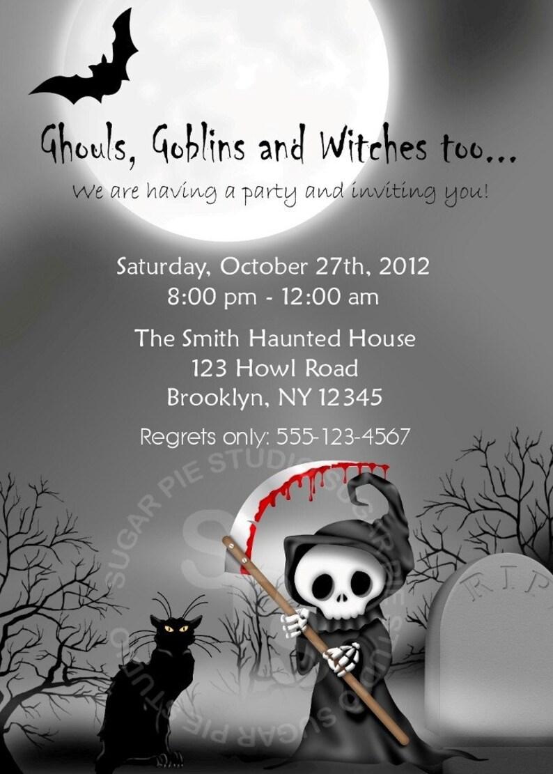 Printable Halloween Birthday Party Invitation Custom