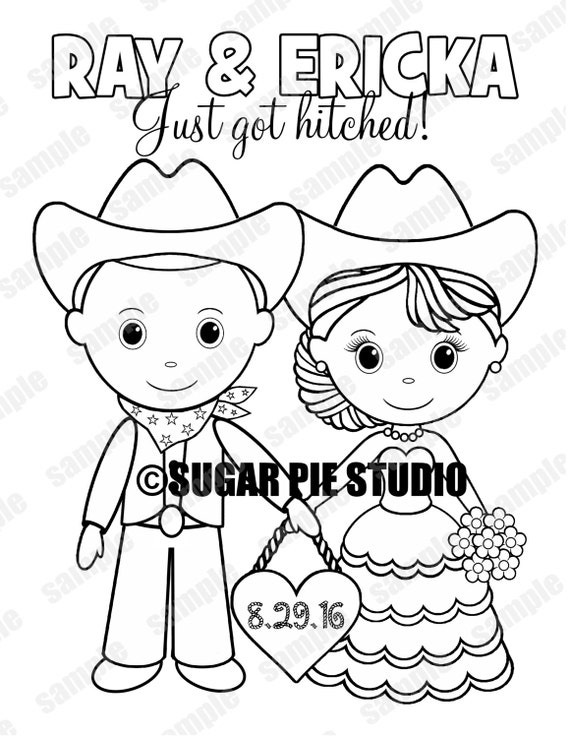 Western Country Cowboy Wedding coloring activity book Printable Personalized Favor Kids 8.5 x 11  PDF or JPEG TEMPLATE