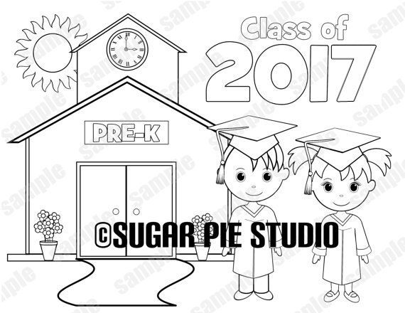 Printable PRE-K kindergarten Graduation favor Kids coloring page