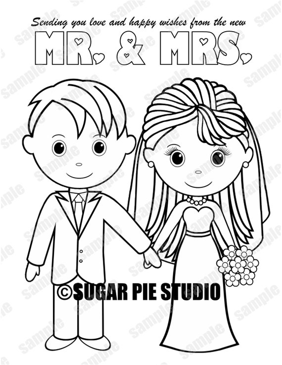 INSTANT DOWNLOAD Printable Bride Groom Wedding coloring page activity page Party Favor childrens kids pdf and jpeg