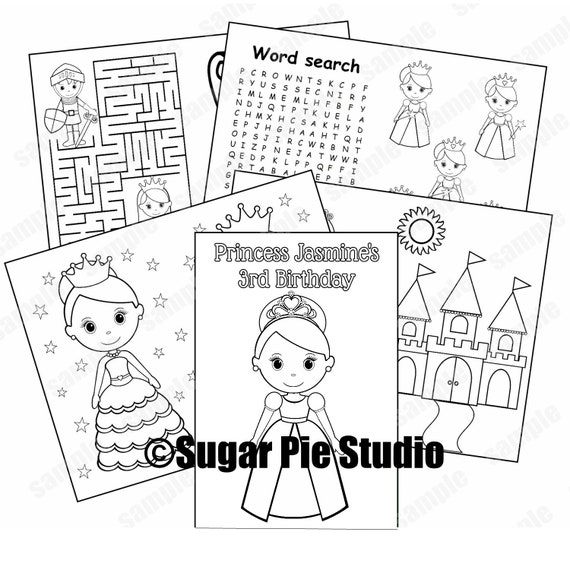 Princess party coloring book Favor Printable template PDF or JPEG
