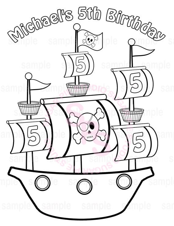Personalized Printable Pirate Ship Birthday Party Favor childrens kids coloring page book activity PDF or JPEG file