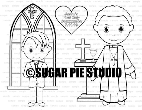 First Holy Communion coloring activity page PDF or JPEG TEMPLATE Printable Personalized Custom Communion Favor Kids