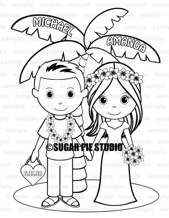 Hawaiian Luau wedding coloring page activity for kids PDF or JPEG file