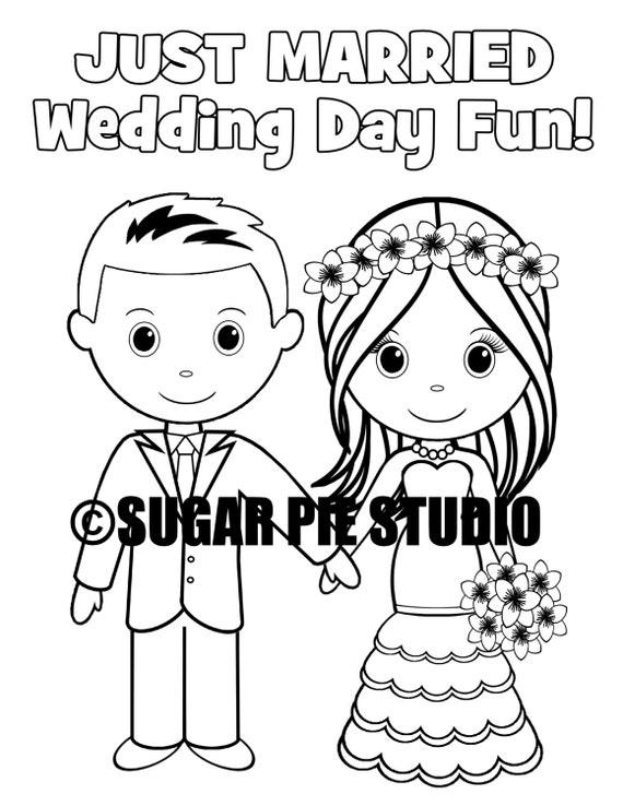 INSTANT DOWNLOAD 8.5x11 Printable Wedding coloring activity book Favor Kids PDF file