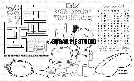Spa Coloring Page Place Mat Childrens Birthday Activity Pdf Or Jpeg File Legal Size