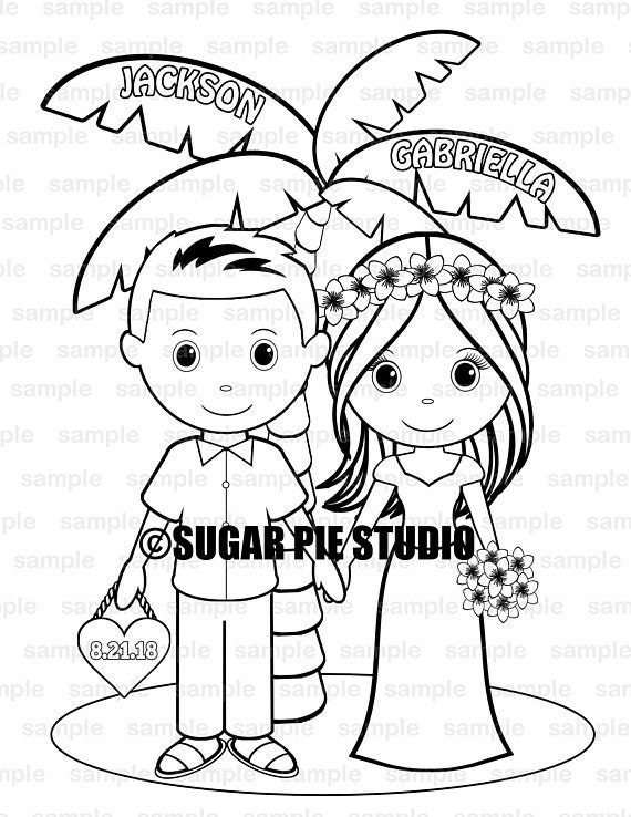 Beach wedding coloring page activity for kids PDF or JPEG file