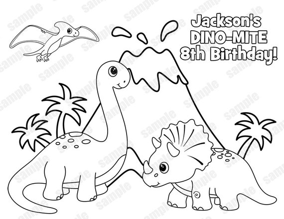 Personalized Printable Dinosaur Dino Dino-mite T-rex  Birthday Party Favor childrens kids coloring page activity PDF or JPEG file