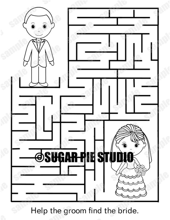 INSTANT DOWNLOAD Printable Wedding coloring page activity maze page Party  Favor childrens kids pdf and jpeg