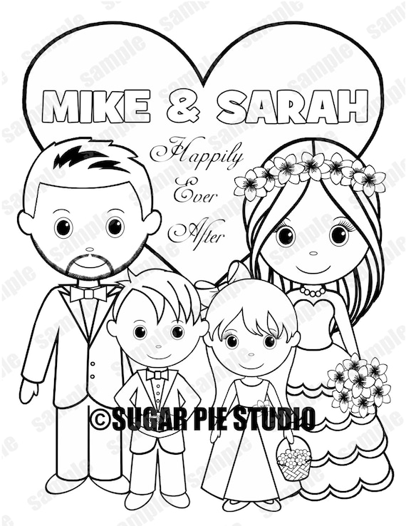 Personalized Printable Flowergirl Wedding Party Favor childrens kids coloring page book activity PDF or JPEG file