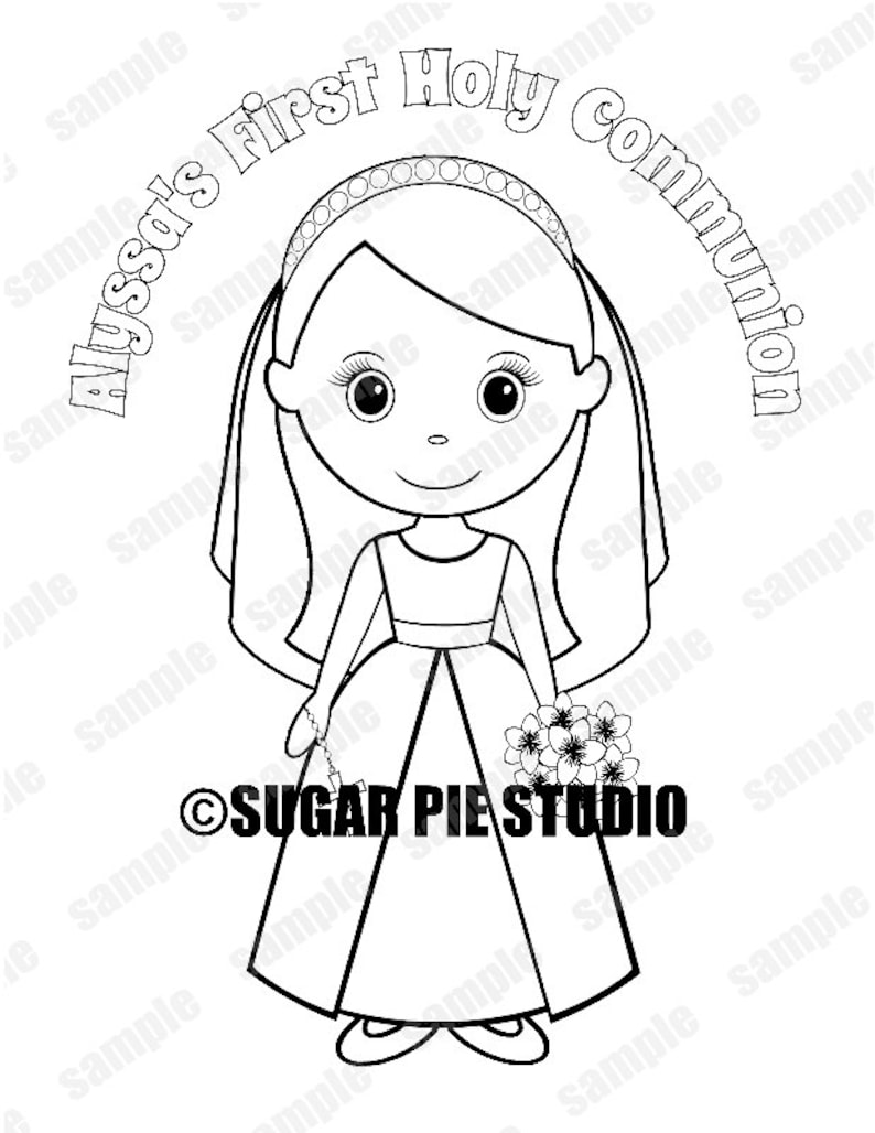 Communion coloring activity page PDF or JPEG TEMPLATE Printable Personalized Custom Communion Favor Kids