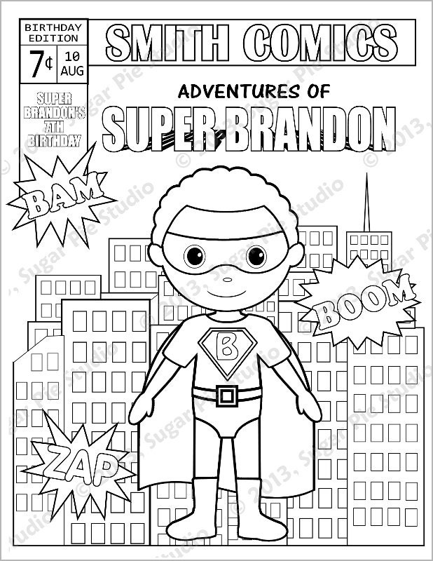 Personalized Printable Comic book SuperHero Girl Boy ...