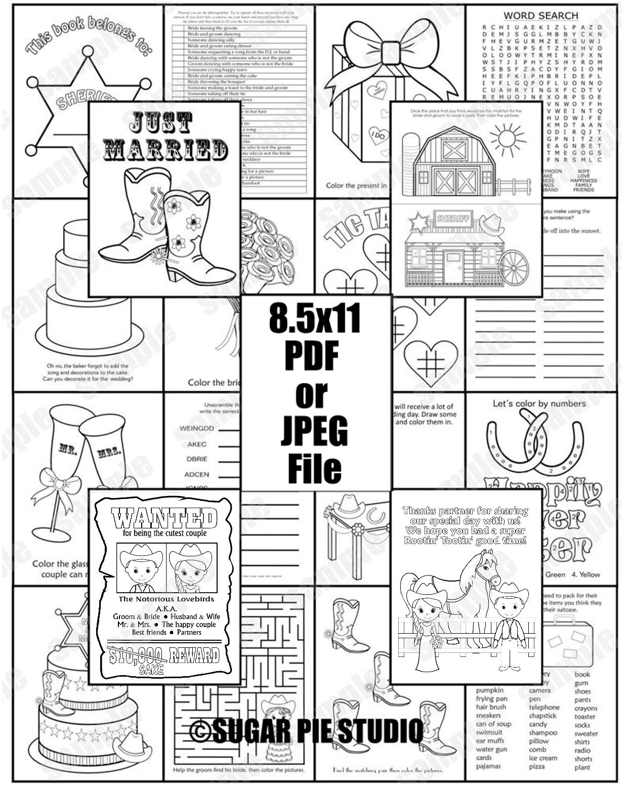 Country Western Wedding Coloring Activity Book Printable
