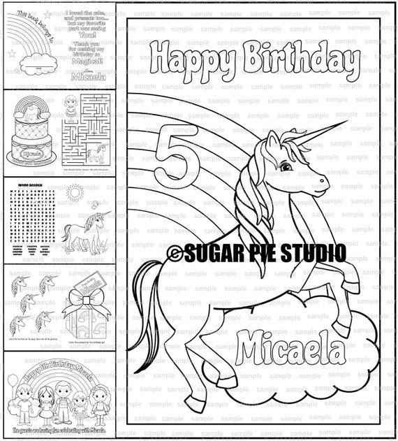 Unicorn rainbow coloring book Birthday Favor Printable template PDF or JPEG